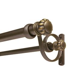 allen + roth 72-in to 144-in Dark-Brass Double Curtain Rod