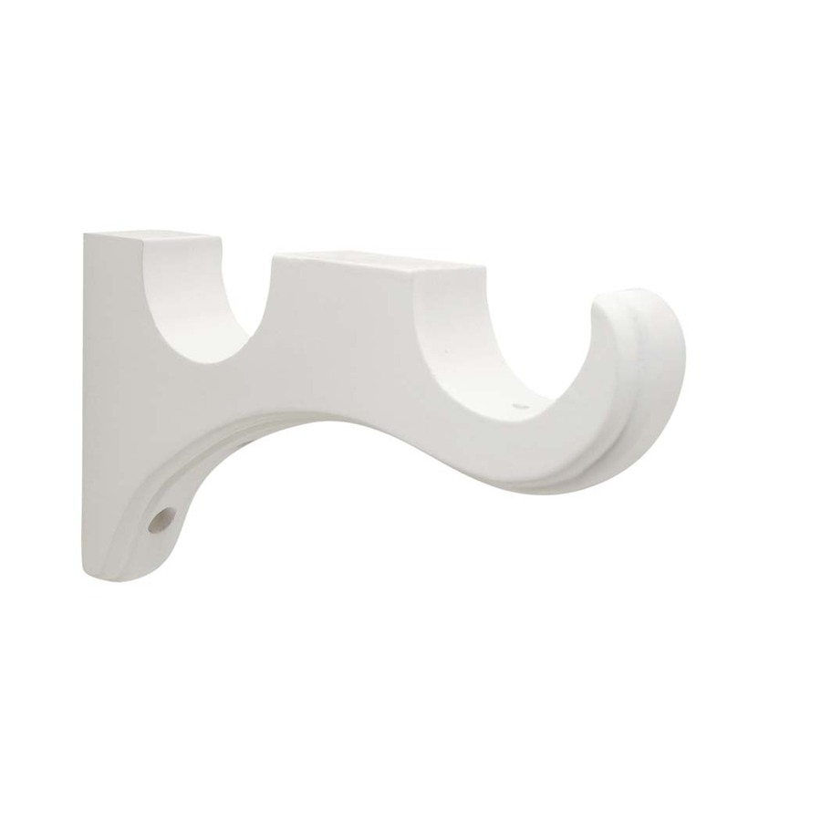 Shop allen + roth 2-Pack White Wood Curtain Rod Brackets at Lowes.com