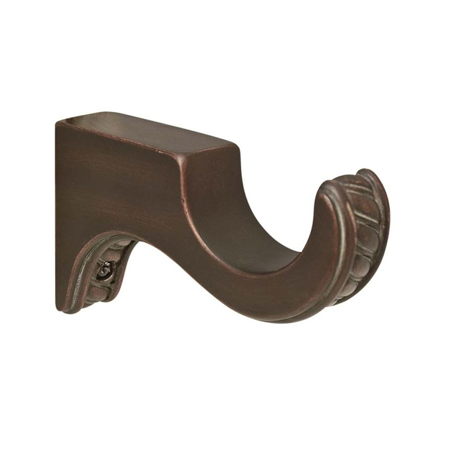 Shop Allen Roth 2 Pack Cocoa Wood Curtin Rod Brackets At