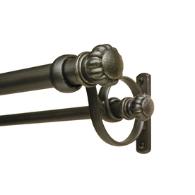 Shop Allen Roth 36 In To 72 In Meridian Bronze Metal Double Curtain Rod At