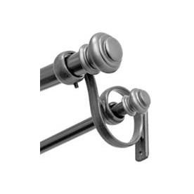 allen + roth 72-in to 144-in Anitque-Pewter Double Curtain Rod