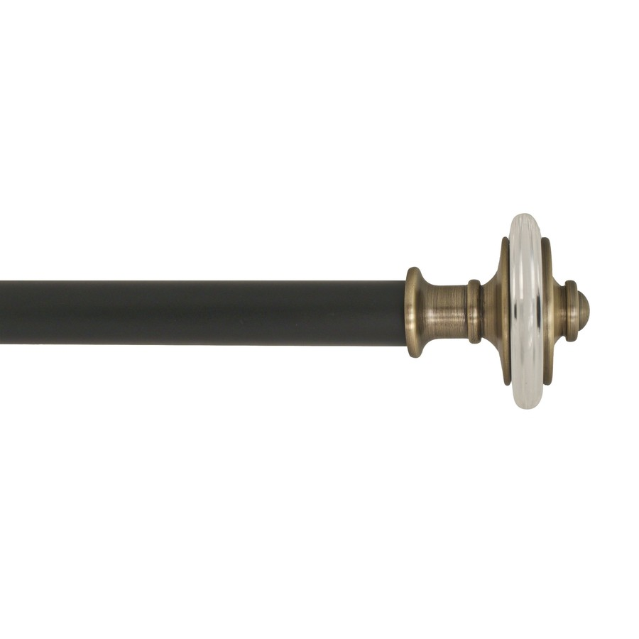 Shop Allen Roth 72 In To 144 In Black Metal Single Curtain Rod At