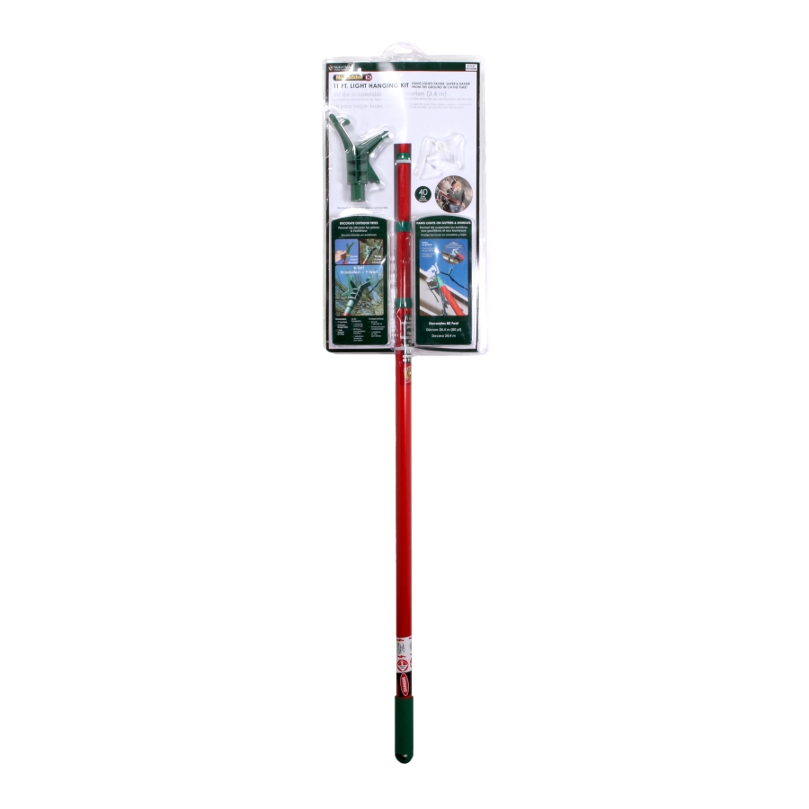 String Lights Pole : Shop ST. NICK S CHOICE 11-ft No Ladder String Light Hanging Pole Starter Kit for Eaves (Includes ...