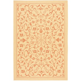 Safavieh Courtyard Natural and Terra Rectangular Indoor and Outdoor Machine-Made Area Rug (Common: 4 x 6; Actual: 48-in W x 67-in L x 0.33-ft Dia)