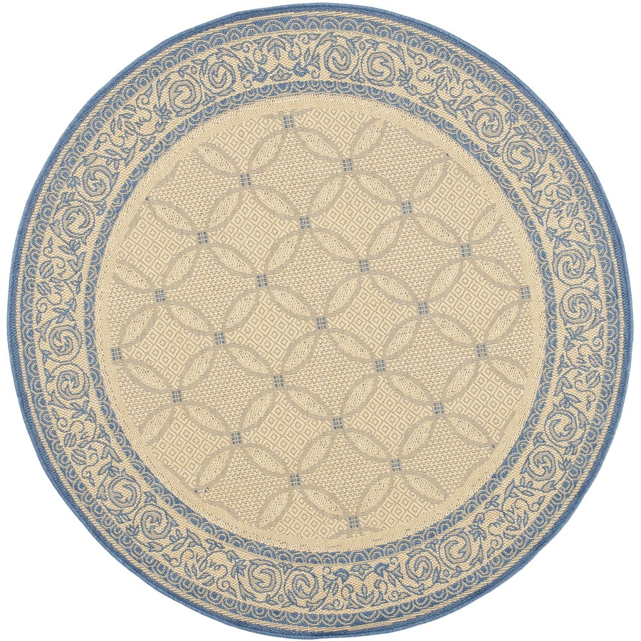 Shop Safavieh Courtyard Round Cream With Blue Border Indoor Outdoor Area Rug