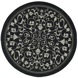 Safavieh Courtyard Round Black Transitional Indoor/Outdoor Woven Area Rug (Common: 7-ft x 7-ft; Actual: 6.58-ft x 6.58-ft)