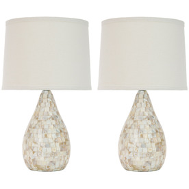 Safavieh 2-Piece White Lamp Set with Fabric Shades