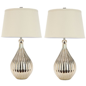 Safavieh 2-Piece Silver Lamp Set with Fabric Shades