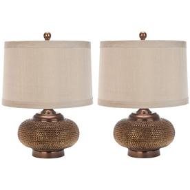 Safavieh 2-Piece Chestnut Lamp Set with Fabric Shades