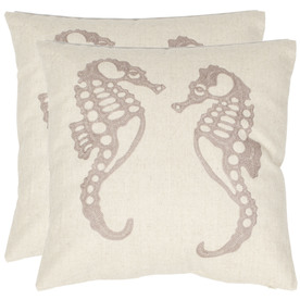 Safavieh 2-Piece 18-in W x 18-in L Ivory Square Accent Pillow