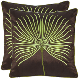 Safavieh 2-Piece 18-in W x 18-in L Brown Square Accent Pillow