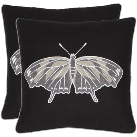 Safavieh 2-Piece 18-in W x 18-in L Black Square Indoor Decorative Complete Pillows