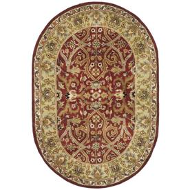 Safavieh Heritage Red and Gold Oval Indoor Tufted Area Rug (Common: 4 x 6; Actual: 54-in W x 78-in L x 0.5-ft Dia)