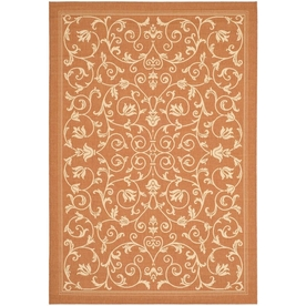 Safavieh Courtyard Terracotta and Natural Rectangular Indoor and Outdoor Machine-Made Area Rug (Common: 4 x 6; Actual: 48-in W x 67-in L x 0.33-ft Dia)