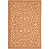 Safavieh Courtyard 4-ft x 5-ft 7-in Rectangular Orange Transitional Indoor/Outdoor Area Rug