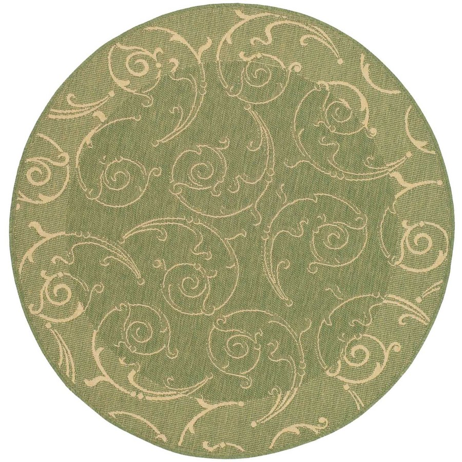 Shop Safavieh Courtyard Round Green Transitional Indoor Outdoor Woven Area Ru
