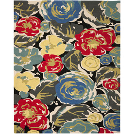 Safavieh Four Seasons Rectangular Black Floral Indoor/Outdoor Woven Area Rug (Common: 8-ft x 10-ft; Actual: 8-ft x 10-ft)