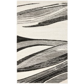 Safavieh Retro Light Grey and Ivory Rectangular Indoor Machine-Made Area Rug (Common: 4 x 6; Actual: 48-in W x 72-in L x 0.33-ft Dia)