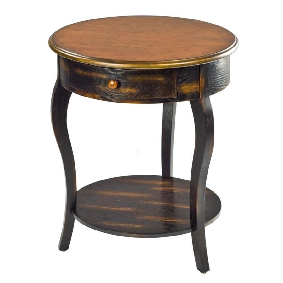 shop safavieh american home tiger dark brown birch round end table at