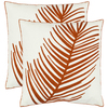 Safavieh 2-Piece 18-in W x 18-in L Orange Square Indoor Decorative Complete Pillows