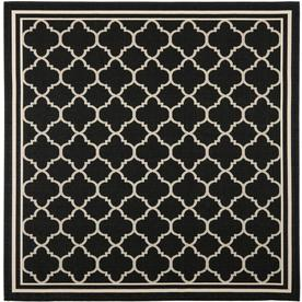Safavieh Courtyard Black and Beige Square Indoor and Outdoor Machine-Made Area Rug (Common: 7 x 7; Actual: 79-in W x 79-in L x 0.42-ft Dia)