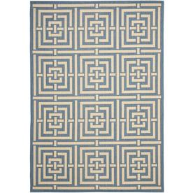 Safavieh Courtyard Blue and Bone Rectangular Indoor and Outdoor Machine-Made Area Rug (Common: 8 x 11; Actual: 96-in W x 134-in L x 0.58-ft Dia)