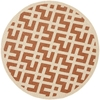 Safavieh Courtyard 63-in x 63-in Round Orange/Peach/Apricot Transitional Indoor/Outdoor Area Rug
