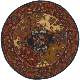Safavieh Heritage Multicolor and Burgundy Round Indoor Tufted Area Rug (Common: 4 x 4; Actual: 42-in W x 42-in L x 0.33-ft Dia)