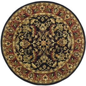 Safavieh Heritage Black and Red Round Indoor Tufted Area Rug (Common: 4 x 4; Actual: 42-in W x 42-in L x 0.33-ft Dia)