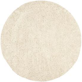 Safavieh Shag White Round Indoor Tufted Area Rug (Common: 6 x 6; Actual: 72-in W x 72-in L x 0.58-ft Dia)