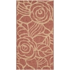 Safavieh Courtyard 31-in x 60-in Rectangular Orange Floral Accent Rug