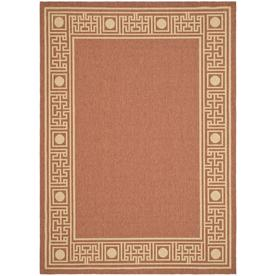 Safavieh Courtyard Rust and Sand Rectangular Indoor and Outdoor Machine-Made Area Rug (Common: 5 x 8; Actual: 63-in W x 91-in L x 0.42-ft Dia)