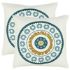 Safavieh 2-Piece 18-in W x 18-in L Turquoise Square Accent Pillow