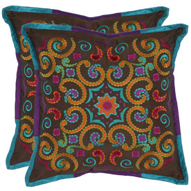 Safavieh 2-Piece 18-in W x 18-in L Chocolate Square Indoor Decorative Complete Pillows