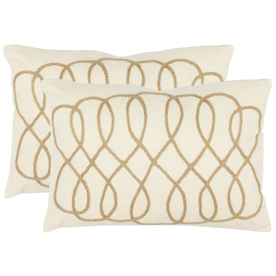 Safavieh 2-Piece 13-in W x 19-in L White Rectangular Accent Pillow