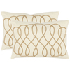 Safavieh 2-Piece 13-in W x 19-in L White/Wheat Rectangular Indoor Decorative Complete Pillows