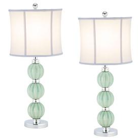 Safavieh 2-Piece Celadon Lamp Set with Fabric Shades