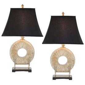 Safavieh 2-Piece Black Lamp Set with Fabric Shades