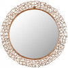 Safavieh 28.3-in x 28.3-in Copper Polished Round Framed Sunburst Wall Mirror