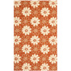 Safavieh Four Seasons 3-ft 6-in x 5-ft 6-in Rectangular Orange Floral Indoor/Outdoor Area Rug