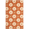 Safavieh Four Seasons 5-ft x 8-ft Rectangular Orange Floral Indoor/Outdoor Area Rug