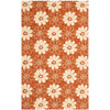 Safavieh Four Seasons 8-ft x 10-ft Rectangular Orange Floral Indoor/Outdoor Area Rug