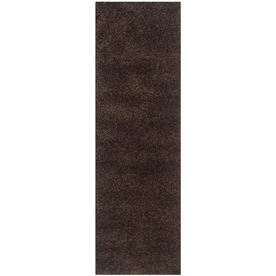 Safavieh Shag Brown Rectangular Indoor Machine-Made Runner (Common: 2 x 11; Actual: 27-in W x 132-in L x 0.83-ft Dia)