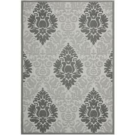 Safavieh Courtyard Light Grey and Anthracite Rectangular Indoor and Outdoor Machine-Made Area Rug (Common: 9 x 12; Actual: 108-in W x 144-in L x 0.58-ft Dia)