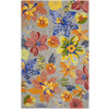 Safavieh Four Seasons 3-ft 6-in x 5-ft 6-in Rectangular Gray Floral Indoor/Outdoor Area Rug