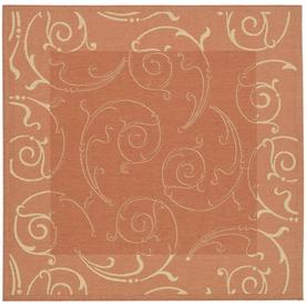 Safavieh Courtyard Terracotta and Natural Square Indoor and Outdoor Machine-Made Area Rug (Common: 7 x 7; Actual: 79-in W x 79-in L x 0.42-ft Dia)