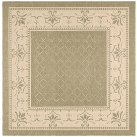 Safavieh Courtyard Olive and Natural Square Indoor and Outdoor Machine-Made Area Rug (Common: 8 x 8; Actual: 94-in W x 94-in L x 0.5-ft Dia)