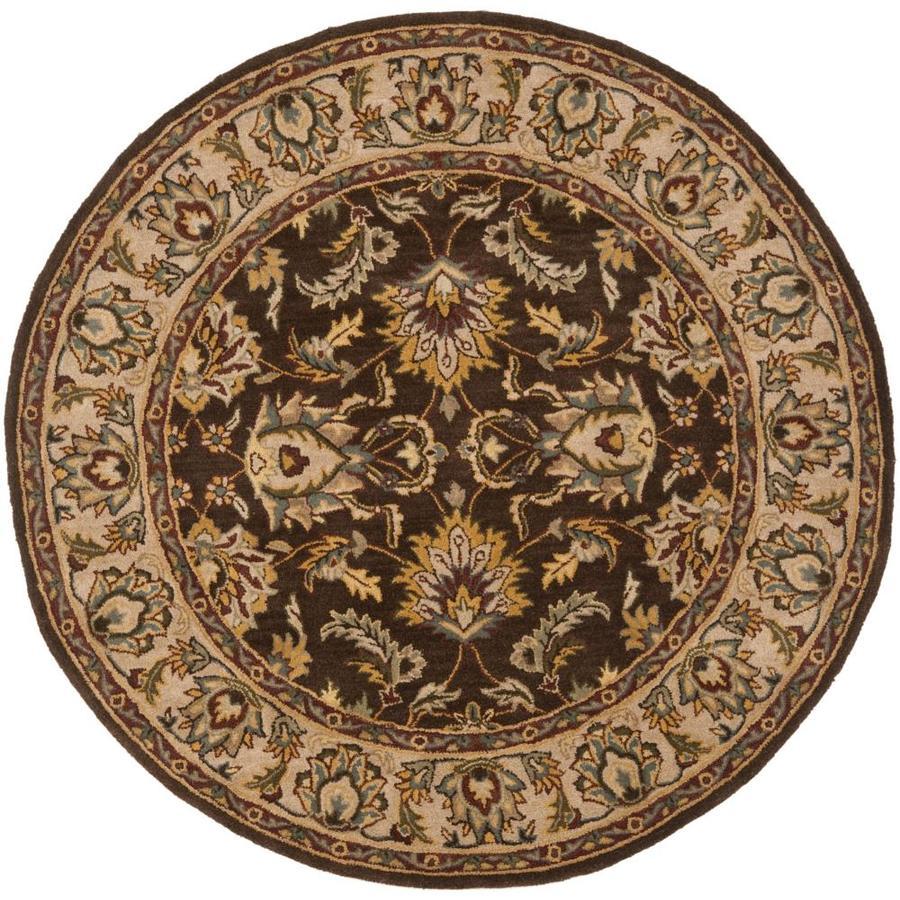 Round Wool Persian Rug: Shop Safavieh Heritage Round Brown Transitional Tufted