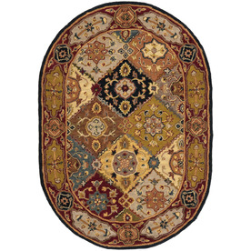 Safavieh Heritage Multicolor and Red Oval Indoor Tufted Area Rug (Common: 5 x 8; Actual: 54-in W x 78-in L x 0.5-ft Dia)