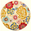 Safavieh Four Seasons 6-ft x 6-ft Round Beige Floral Indoor/Outdoor Area Rug